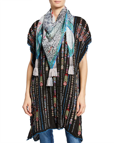 Plus Size Embroidered Georgette Poncho with Side Slits and Matching Items