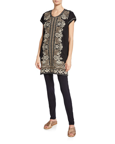 Plus Size Rita Embroidered Short-Sleeve Linen Peasant Tunic Dress and Matching Items