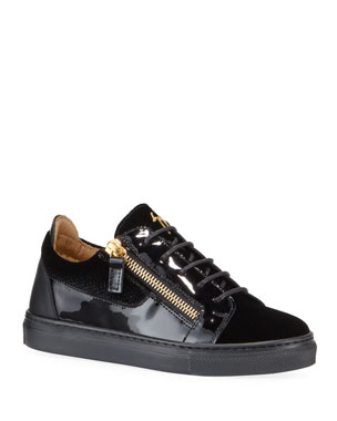 dba318e0f90aa Giuseppe Zanotti London Patent Leather & Velvet Low-Top Sneakers,  Baby/Toddler London