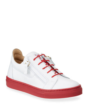 3f9f2cee4989c Giuseppe Zanotti Contrast-Heel Leather Low-Top Sneakers, Baby/Toddler  Contrast-