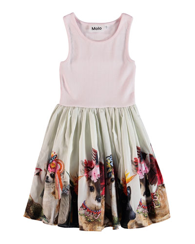 Cordelia Ribbed Dress w/ Animal-Print Skirt  Size 6-24 Months and Matching Items