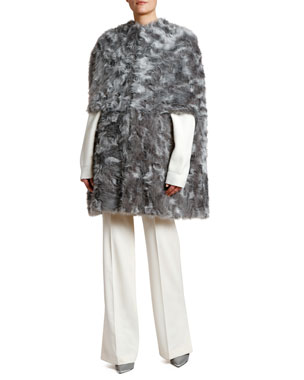 25df4b641a Stella McCartney Faux Fur Capelet Coat Wool Flare-Leg Pants