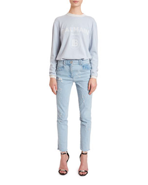 0dfc51b9591 Balmain Wool-Cashmere Logo Sweater Washed Slim-Fit Distressed Jeans