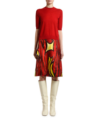 Short-Sleeve Wool-Silk Sweater and Matching Items