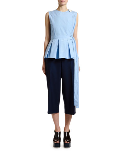 Button-Shoulder Pleated Peplum Top and Matching Items