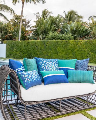 Tile Lumbar Sunbrella Pillow  Dark Blue  and Matching Items