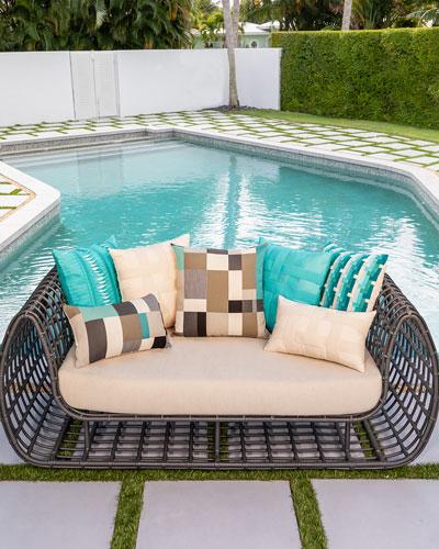 Basketweave Lumbar Sunbrella Pillow  Turquoise  and Matching Items
