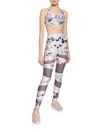 Bondage Floral-Print Mesh Leggings and Matching Items