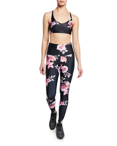 High-Rise Rose-Print Active Leggings and Matching Items
