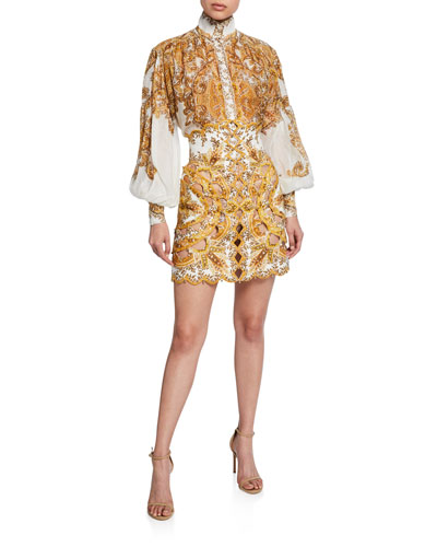 Zippy Printed Button-Front Bishop-Sleeve Billowy Blouse and Matching Items
