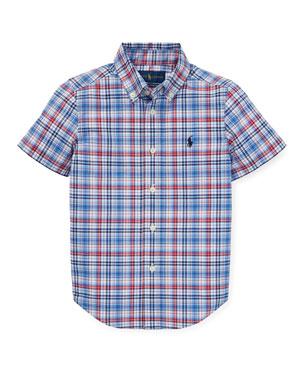 b9370c62a3b Ralph Lauren Childrenswear Short-Sleeve Collared Plaid Shirt
