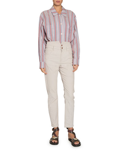 Venice Striped Long-Sleeve Button-Down Shirt and Matching Items