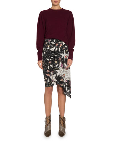 Colroy Crewneck Puff-Shoulder Long-Sleeve Cashmere Sweater and Matching Items