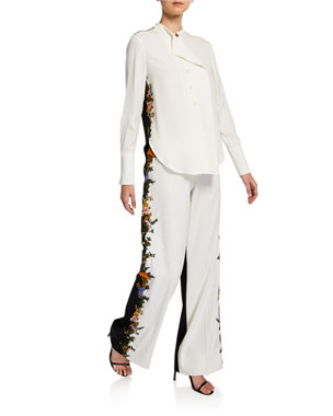80eb31ed0f6172 Oscar de la Renta Two-Tone Long-Sleeve Blouse Embroidered Side-Striped Two