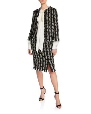 5d2c610efe22f8 Oscar de la Renta Fringe-Trim Tweed Jacket Bow-Neck Open-Sleeve Blouse