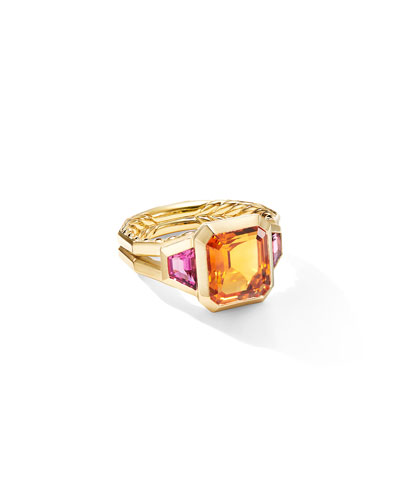 Novella 18k 3-Stone Ring w/ Citrine & Rubellite  Size 6 and Matching Items