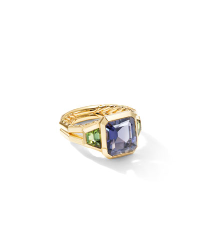 Novella 18k 3-Stone Ring w/ Iolite & Green Tourmaline  Size 8 and Matching Items