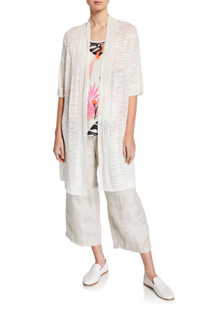 Masai Laxmi Oversize Half-Sleeve Melange Cardigan Kari Leaf-Print Scoop-Neck Cap-Sleeve Top Payta Checkered Linen Culottes