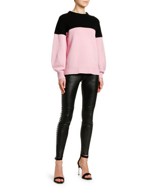 e5066815ee0 Alexander McQueen Cashmere Colorblocked Chunky Oversized Sweater  Houndstooth-Striped Stretch-Leather Leggings