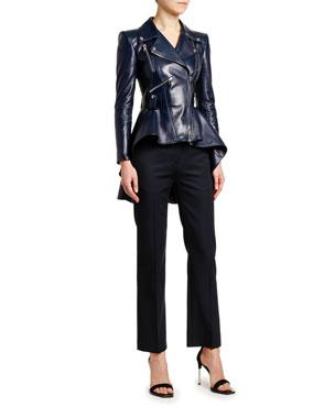 b054764e470 Alexander McQueen Leather Fit   Flare Biker Jacket Grain de Poudre  Cigarette Pants