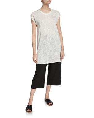 f8aa6cbcdbe DUBGEE by Whoopi Plus Size Oversize Slub Knit Tee Plus Size Solid Pull-On  Capri