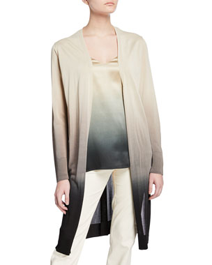 262d5379da3 Lafayette 148 New York Dip-Dye Metropolitan Shine Open-Front Cardigan Eva  Ombre Satin