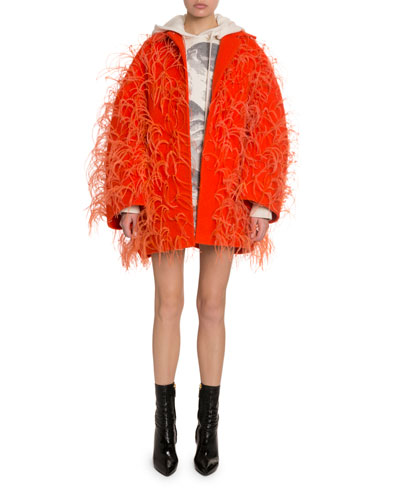 Oversized Feather-Trim Drop-Shoulder Coat and Matching Items