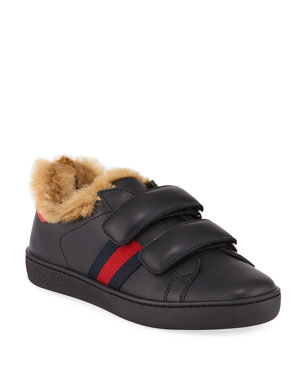 8e8dd6509c8 Gucci New Ace Web-Trim Leather Sneakers w  Faux Fur Lining