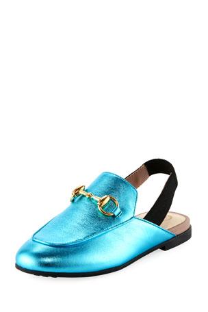 Gucci Princetown Junior Leather Horsebit Mule Slide, Toddler