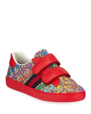 d8253ebe2e62 Gucci New Ace GG Supreme Rainbow Star-Print Sneakers