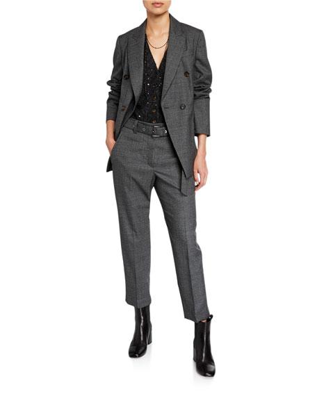 Brunello Cucinelli Chevron Sequined Mohair Vest