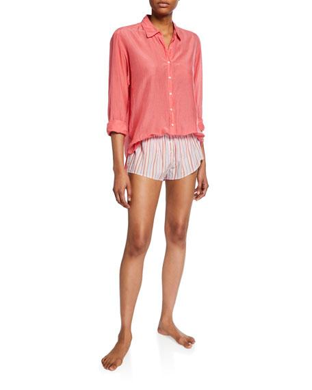 Xirena Beau Poplin Lounge Shirt, Coral