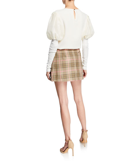 Maggie Marilyn It's A New Day Puffed-Sleeve Gauze Trimmed Crepe Top