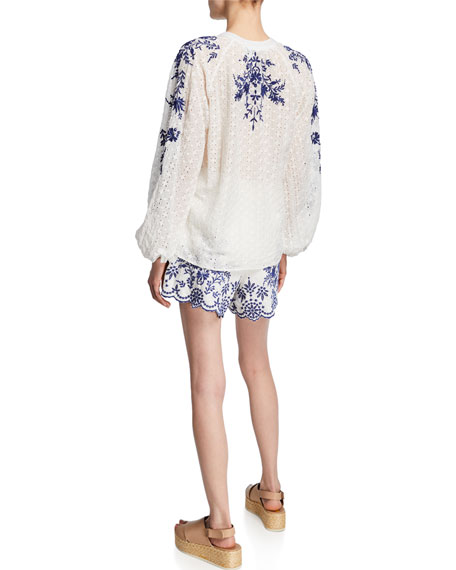 Johnny Was Ramona Embroidered Eyelet Blouson-Sleeve Peasant Top