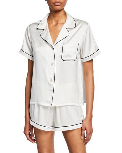 Katelyn Short-Sleeve Silk Lounge Top and Matching Items