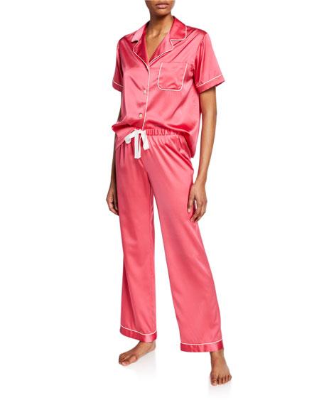 Morgan Lane Katelyn Short-Sleeve Silk Lounge Top