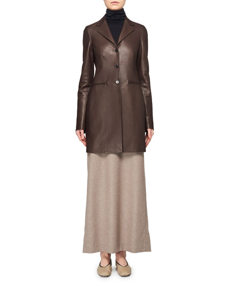 THE ROW Nedifa 3-Button Leather Coat