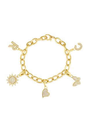 Roberto Coin 18k Gold Round Link Bracelet 18k Gold & Diamond Letter D Charm 18k Gold & Diamond Letter E Charm