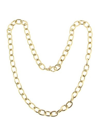 18k Gold Round Link Chain Necklace and Matching Items