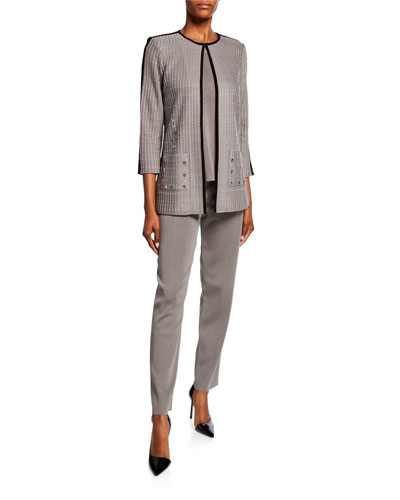 Petite Textured 3/4-Sleeve Long Jacket with Front Pocket Detail and Matching Items
