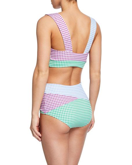 Marysia Sagaponack Check Twist-Front Bikini Top