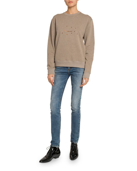 Saint Laurent Stars Logo Graphic Sweatshirt, Taupe