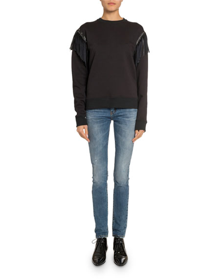Saint Laurent Crewneck Long-Sleeve Sweatshirt with Leather Fringe Detail