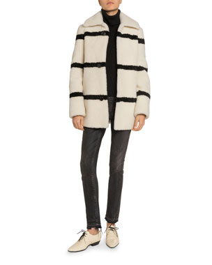 128c340c5e0 Saint Laurent Striped Shearling Pea Coat Cashmere Turtleneck Sweater  Mid-Rise Raw-Hem Skinny