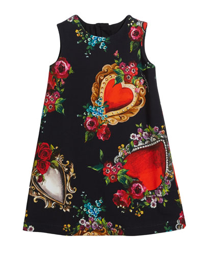 Heart & Rose Print Sleeveless Dress  Size 8-12  and Matching Items