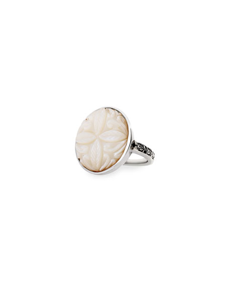 Stephen Dweck Carved Mother-of-Pearl Ring, Size 7