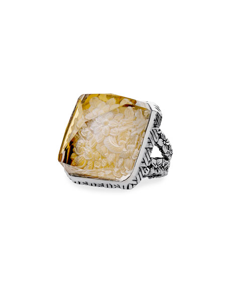 Stephen Dweck Crystal Square-Pyramid Ring, Size 8
