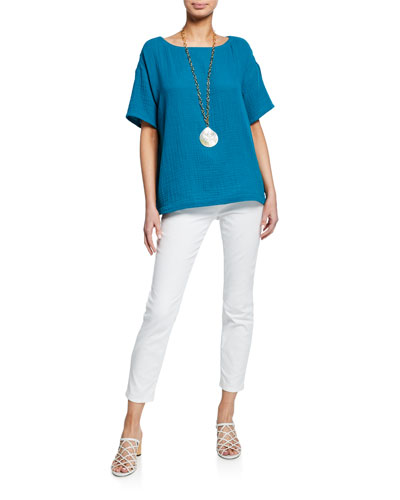 Short-Sleeve Cotton Gauze Top and Matching Items