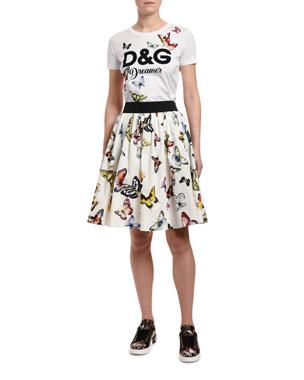 0e6a32903863cb Dolce & Gabbana Short-Sleeve DG Dreamer Butterfly Jersey Shirt  Butterfly-Print Cotton Poplin