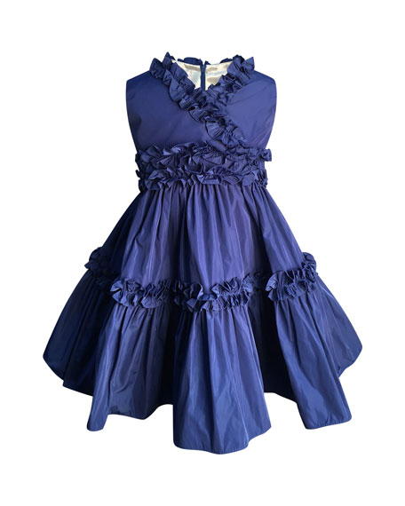 Helena Ruffle-Trim Taffeta Dress, Size 2-6